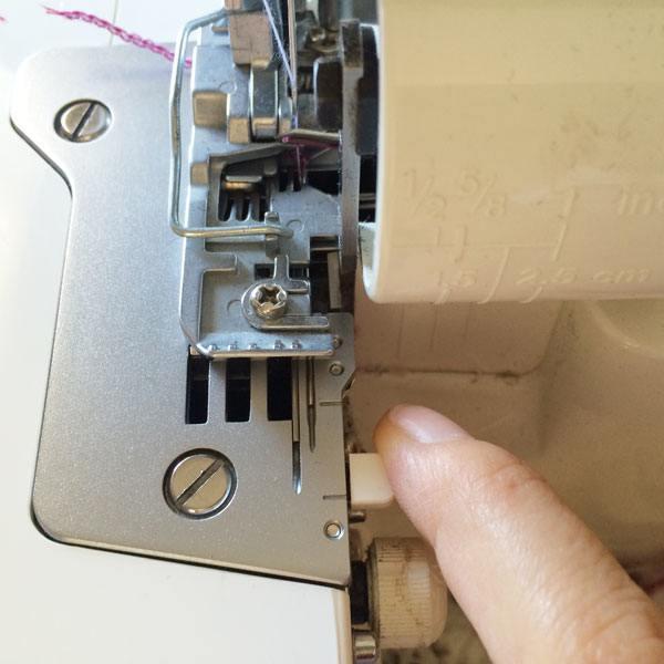 Sellection lever adjustments for rolled hem