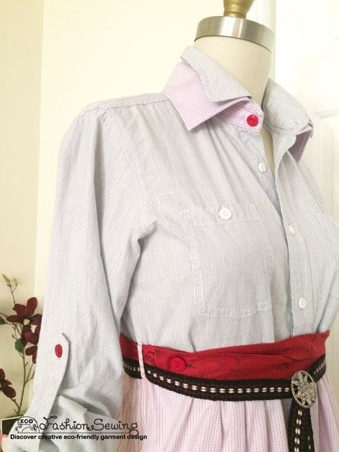 Shirts-Upcycling-With-Pattern--Transform-Men-Shirts-Into-Woman's---front-details