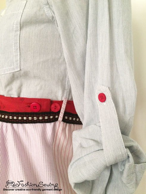 Shirts-Upcycling-With-Pattern--Transform-Men-Shirts-Into-Woman's---sleeve-&-belt-detail