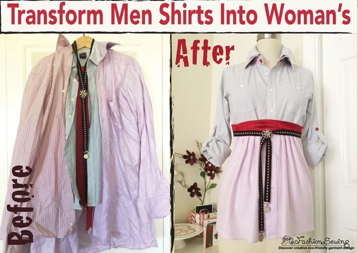 Men's Button Down Shirt Refashion: Ladies Make it Your Own!