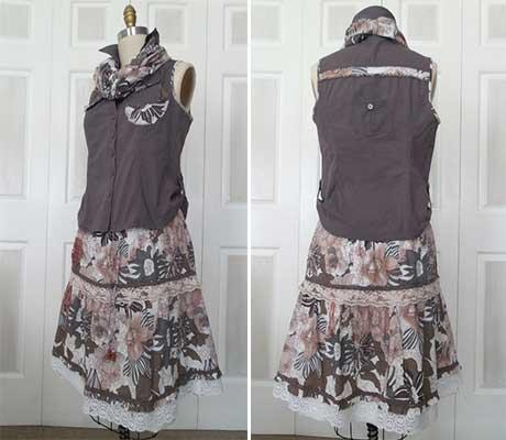Refashioned-shirt-&-skirt-set