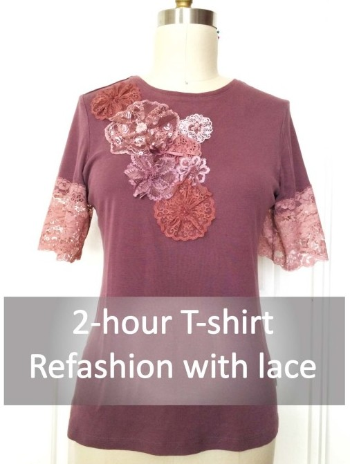 T-shirt Refashion With Lace